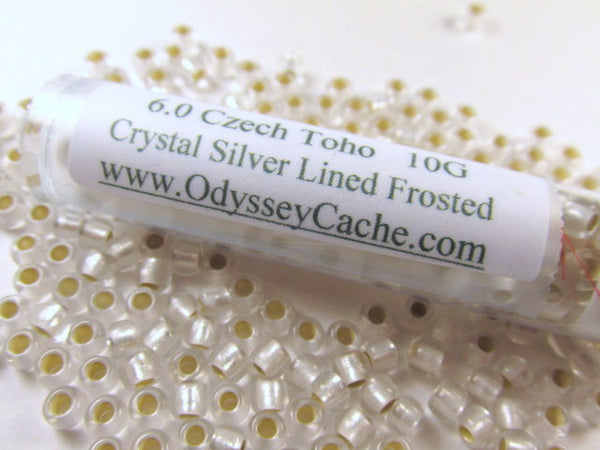 Crystal Silver Lined Frosted 6.0 Toho Seed Beads (10 grams)-Jewelry Beads-Odyssey Cache