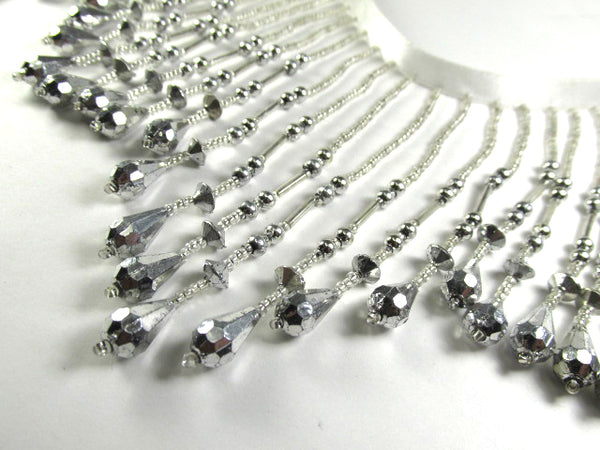 Metallic Silver 4.75 Inch Long Beaded Fringe Costume or Decorator Trim on White Ribbon-Beaded Fringe-Odyssey Cache