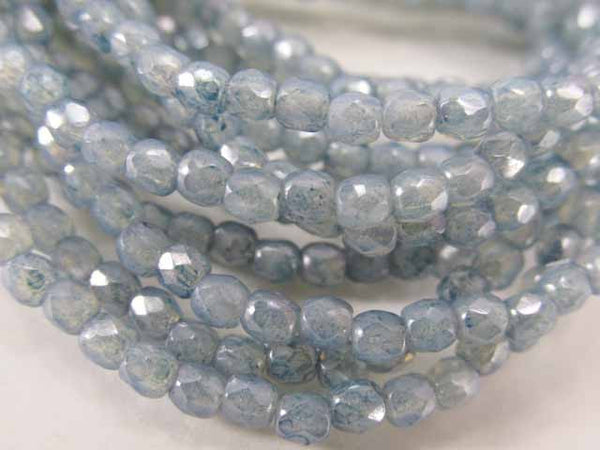 Denim Opalite 3mm Czech Glass Fire Polished Jewelry Beads (50) - Odyssey Cache