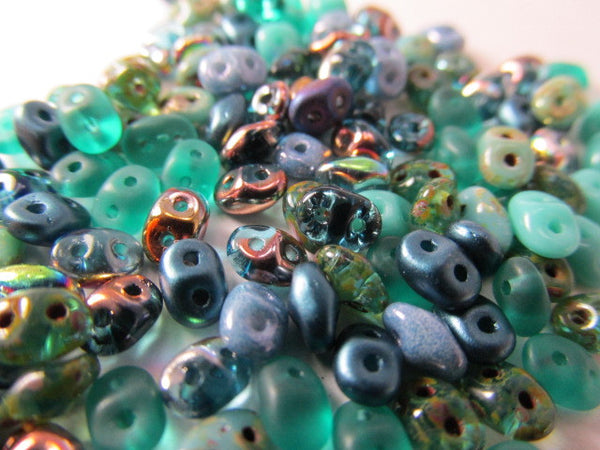 Turquoise Blue Teal Mix Czech Glass 2.5 x 5mm Superduos (10 grams) - Odyssey Cache