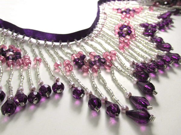 Purple, Fuchsia and Silver 4.25 Inch Long Beaded Fringe with Pearl Accents-Beaded Fringe-1/2 Yard-Odyssey Cache