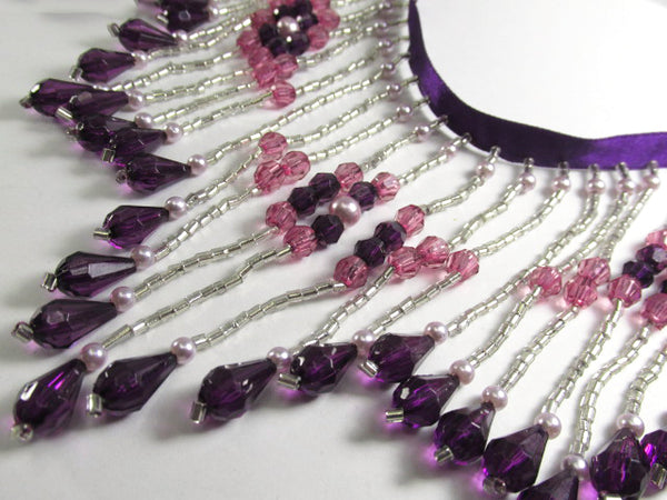 Purple, Fuchsia and Silver 4.25 Inch Long Beaded Fringe with Pearl Accents-Beaded Fringe-Yard-Odyssey Cache