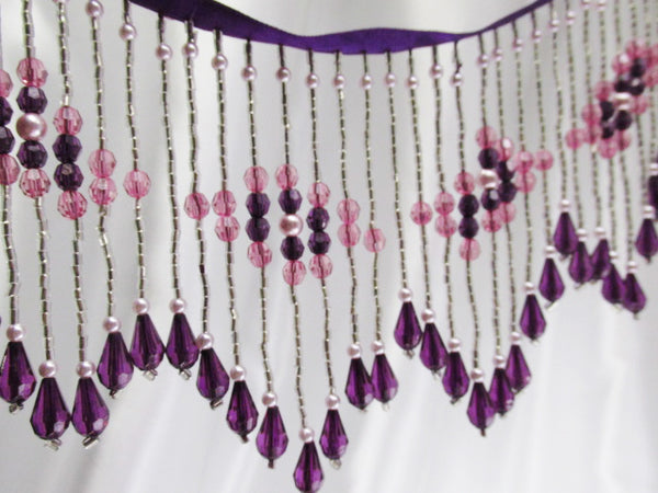 Purple, Fuchsia and Silver 4.25 Inch Long Beaded Fringe with Pearl Accents-Beaded Fringe-Odyssey Cache