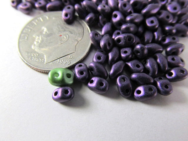Purple Metallic Suede Czech Glass 2.5 x 4mm Miniduos (10 grams) - Odyssey Cache