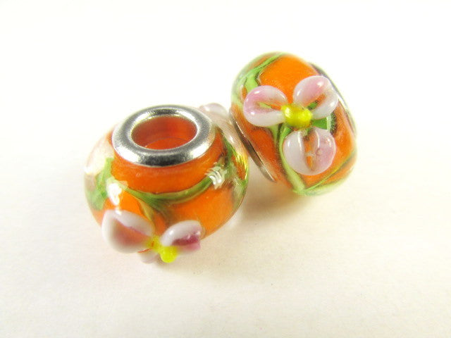 Orange and Pink Flower Large Hole Lampwork Glass 14mm Rondelles (2)-Jewelry Beads-Odyssey Cache
