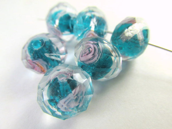 Peacock Blue, Pink and Silver Rose 12mm Lampwork Glass Rondelles (6)-Jewelry Beads-Odyssey Cache