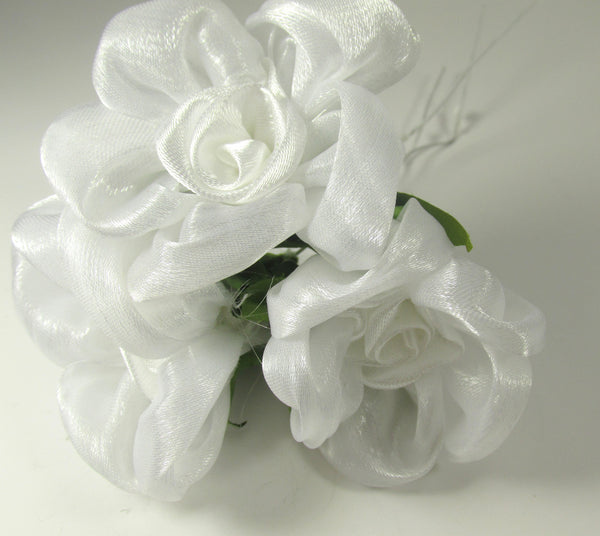 Pink, White or Ivory Large 1.5 inch Rolled Satin Organza Roses-Flowers-White-Odyssey Cache