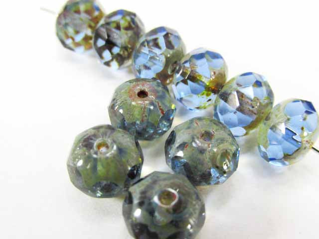 Blue Sapphire Picasso Finish Transparent Czech Glass 8mm x 6mm Rondelles (12)-Jewelry Beads-Odyssey Cache