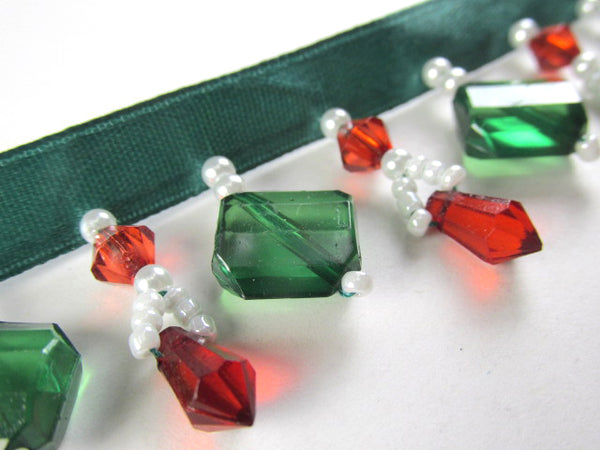 Christmas Short 1.25 Inch Beaded Fringe Trim in Red, White and Emerald Green Stairstep Squares Decorator Trim - Odyssey Cache