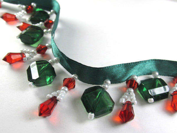 Christmas Short 1.25 Inch Beaded Fringe Trim in Red, White and Emerald Green Stairstep Squares Decorator Trim-Beaded Fringe-1 yard-Odyssey Cache