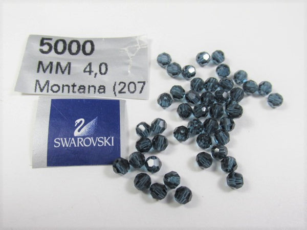 Montana Sapphire Blue Swarovski Crystal 4mm Faceted Round Jewelry Beads (20) - Odyssey Cache