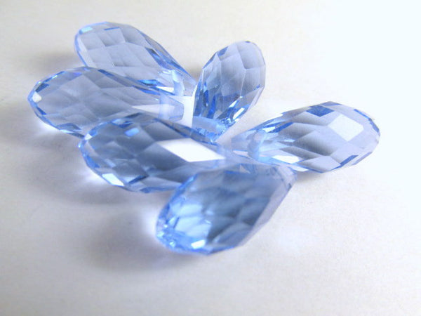 Light Sapphire Blue 16mm x 8mm Crystal Briolettes (6)-Jewelry Beads-Odyssey Cache