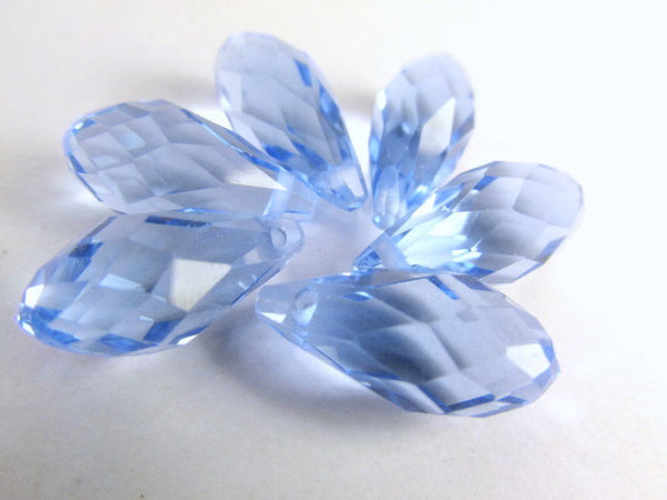 Light Sapphire Blue 16mm x 8mm Crystal Briolettes (6)-Jewelry Beads-Default Title-Odyssey Cache