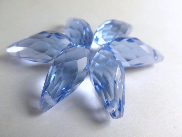 Light Sapphire Blue 16mm x 8mm Crystal Briolettes (6) - Odyssey Cache