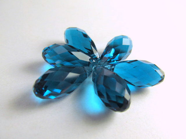 Peacock Blue Teal 16mm x 8mm Crystal Briolettes (6)-Jewelry Beads-Odyssey Cache