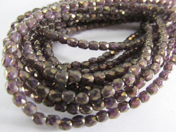 Amethyst Antique Bronze Finish 3mm Czech glass fire polished jewelry beads (50) - Odyssey Cache