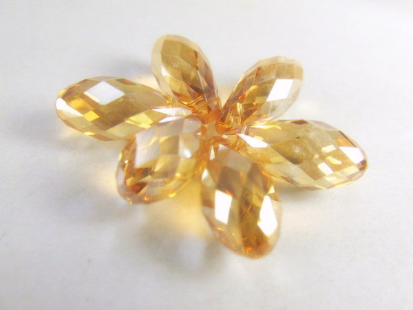 Gold Champagne 16mm x 8mm Faceted Crystal Briolettes (6)-Jewelry Beads-Odyssey Cache