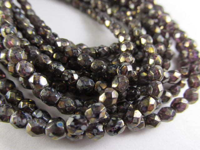 Amethyst Antique Bronze Picasso 4mm Czech glass fire polished jewelry beads (50)-Jewelry Beads-Odyssey Cache