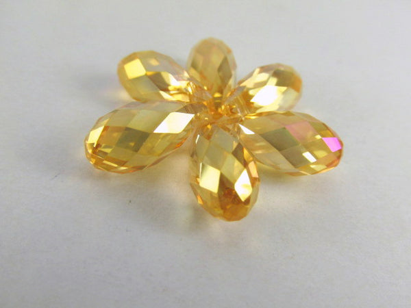 Gold Champagne Colorized 16mm x 8mm Faceted Crystal Briolettes (6)-Jewelry Beads-Odyssey Cache