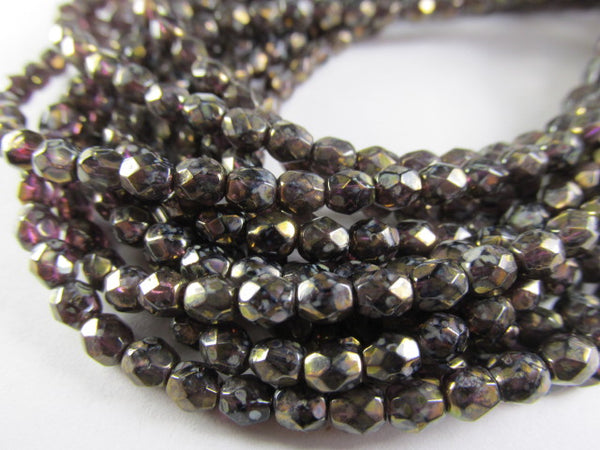Amethyst Antique Bronze Picasso 4mm Czech glass fire polished jewelry beads (50) - Odyssey Cache