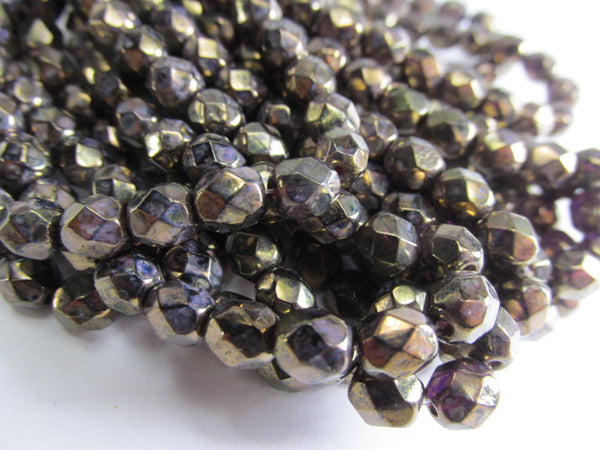 Amethyst Antique Bronze Picasso 6mm Czech glass fire polished jewelry beads (25)-Jewelry Beads-Odyssey Cache