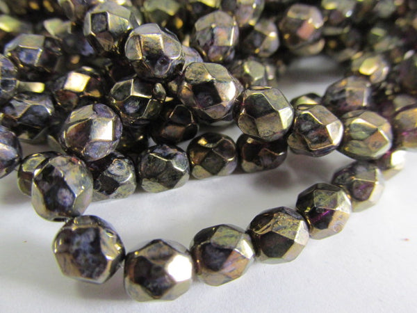 Amethyst Antique Bronze Picasso 6mm Czech glass fire polished jewelry beads (25) - Odyssey Cache