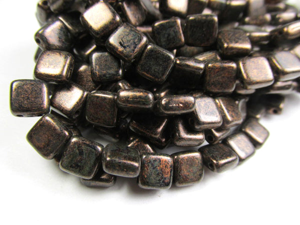 Copperish Chocolate Bronze Czech Glass CzechMate 6mm 2-Hole Square Tile Jewelry Beads (25)-Jewelry Beads-Odyssey Cache