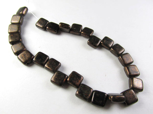 Copperish Chocolate Bronze Czech Glass CzechMate 6mm 2-Hole Square Tile Jewelry Beads (25) - Odyssey Cache