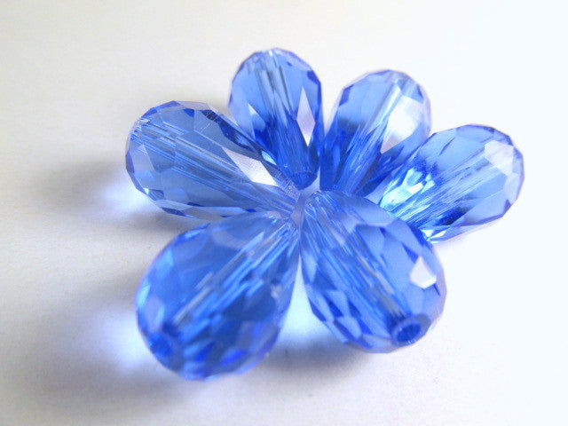 Sapphire Blue 14mm x 10mm Faceted Crystal Teardrops (6)-Jewelry Beads-Odyssey Cache