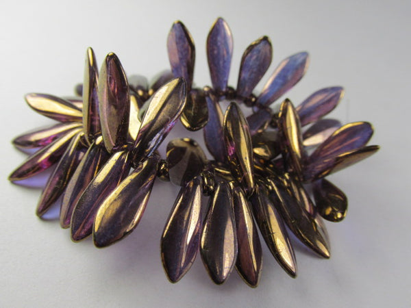 Amethyst Bronze 15mm x 5mm Czech Glass Dagger Jewelry Beads (Strand of 50) - Odyssey Cache