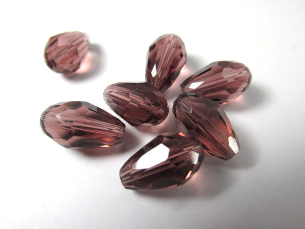 Amethyst Plum 12mm x 8mm Faceted Crystal Teardrops (7)-Jewelry Beads-Odyssey Cache