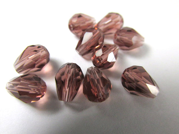 Amethyst Plum 7mm x 5mm Faceted Crystal Teardrops (10)-Jewelry Beads-Odyssey Cache