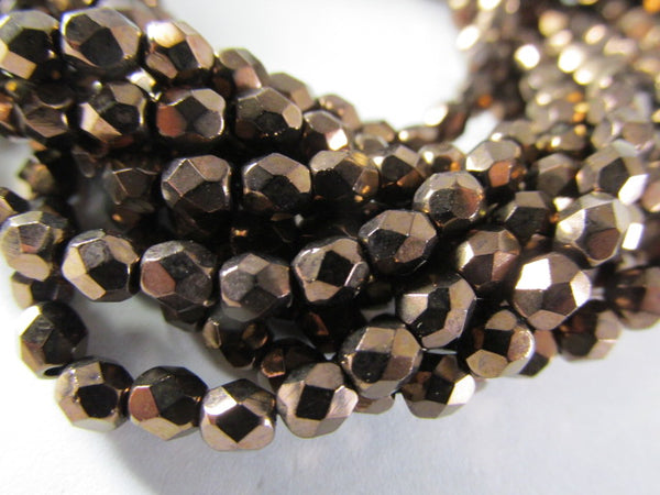 Dark Bronze Picasso 4mm Czech glass fire polished jewelry beads (50) - Odyssey Cache