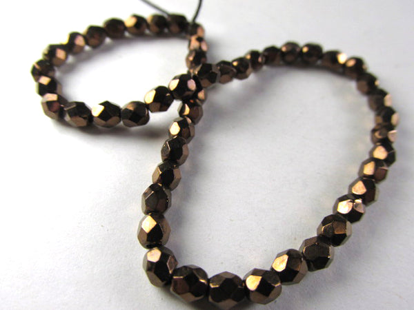 Dark Bronze Picasso 4mm Czech glass fire polished jewelry beads (50)-Czech Glass-Odyssey Cache