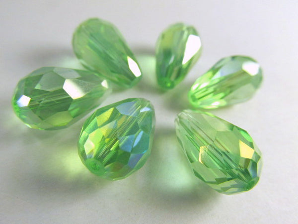 Peridot Green AB 14mm x 10mm Faceted Crystal Teardrops (6) - Odyssey Cache