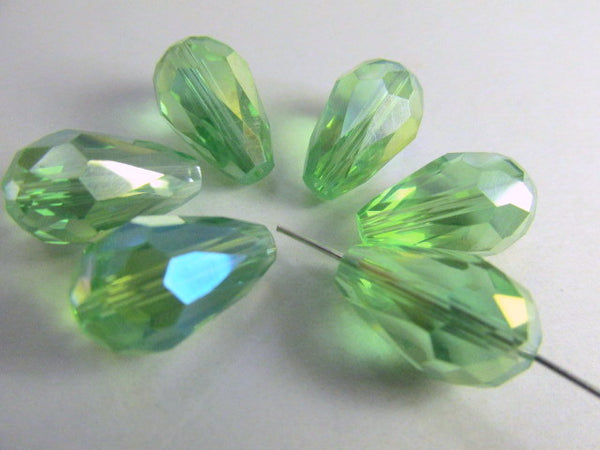 Peridot Green AB 14mm x 10mm Faceted Crystal Teardrops (6)-Jewelry Beads-Odyssey Cache