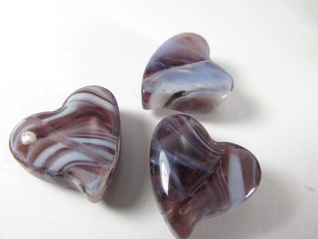Plum and White Glass Lampwork 18mm Heart Jewelry Beads (3) - Odyssey Cache