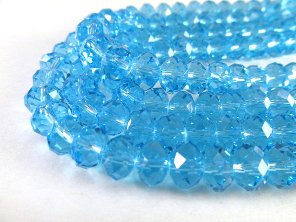 Blue Aquamarine 8mm x 6mm Chinese Crystal Faceted Rondelles - strand of 36 - Odyssey Cache