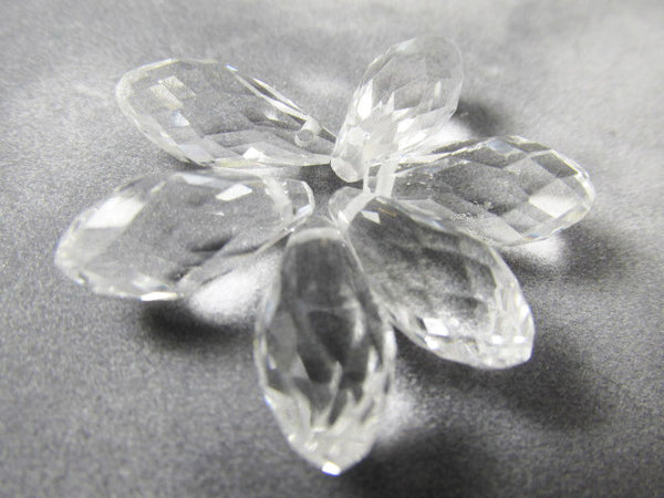 Clear Faceted Crystal 16mm x 8mm Crystal Briolettes (6)-Jewelry Beads-Odyssey Cache
