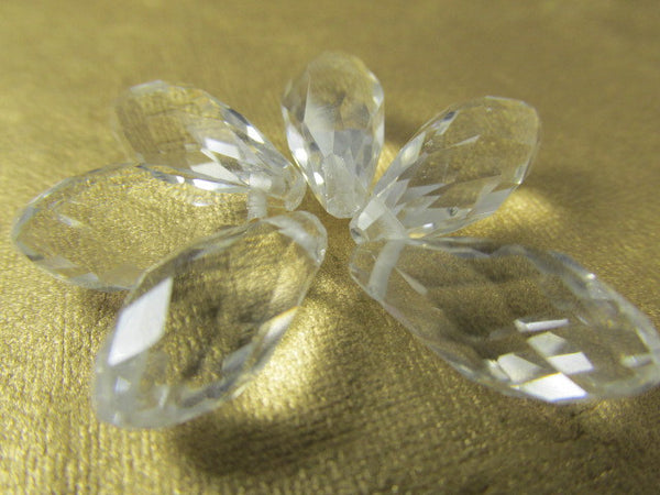 Clear 12mm x 8mm Faceted Crystal Teardrops (7)-Jewelry Beads-Odyssey Cache