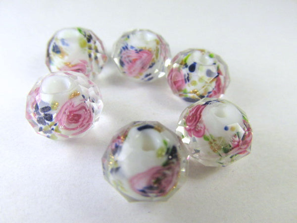 White, Green, Pink and Blue Rose 12mm Lampwork Glass Rondelles (6)-Jewelry Beads-Odyssey Cache