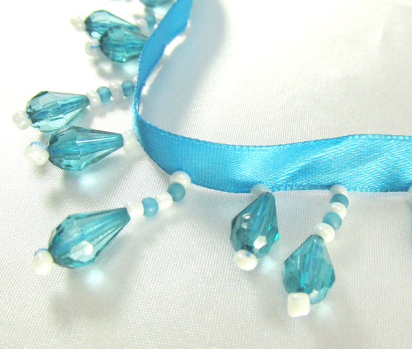 Bright Blue Turquoise and White Short Beaded Fringe Trim-Yard (36 inches)-Odyssey Cache