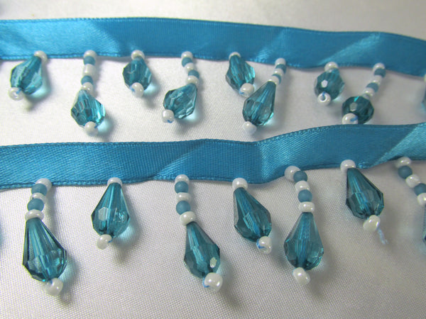 Bright Blue Turquoise and White Short Beaded Fringe Trim--Odyssey Cache