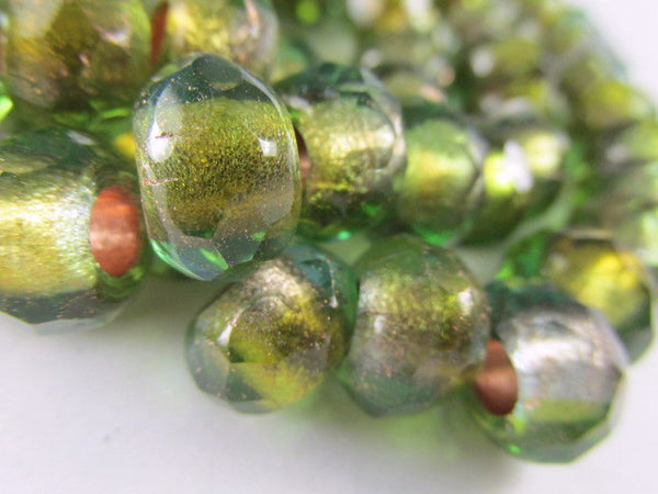 Green and Gold Czech Large Hole 12mm Roller Beads-Jewelry Beads-25 beads full strand-Odyssey Cache