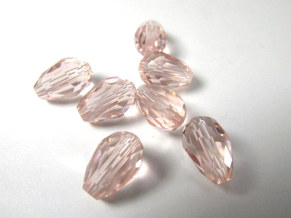 Vintage Pink 12mm x 8mm Faceted Crystal Teardrop Beads (7) - Odyssey Cache