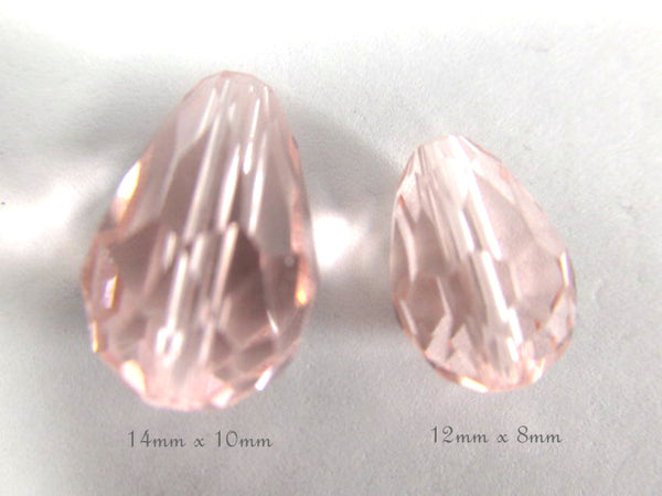 Vintage Pink 12mm x 8mm Faceted Crystal Teardrop Beads (7)-Jewelry Beads-Odyssey Cache