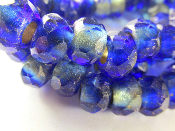 Mediterranean Blue and Beige Czech Large Hole 12mm Roller Beads-Jewelry Beads-25 beads full strand-Odyssey Cache