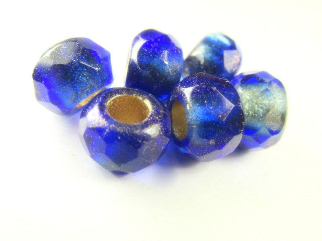 Mediterranean Blue and Beige Czech Large Hole 12mm Roller Beads-Jewelry Beads-Odyssey Cache