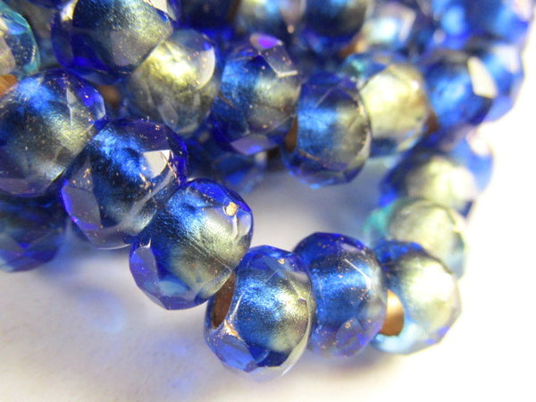 Mediterranean Blue and Beige Czech Large Hole 9mm x 6mm Roller Beads - Odyssey Cache