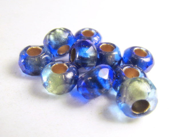 Mediterranean Blue and Beige Czech Large Hole 9mm x 6mm Roller Beads-Jewelry Beads-Odyssey Cache